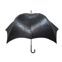 Black Crocodile Pumpkinbrella by DiCesare - Leather Handle