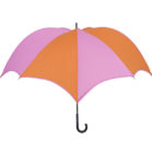 DiCesare Pumpkinbrella Pink & Orange Umbrella - Leather Handle