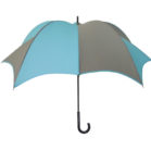 DiCesare Pumpkinbrella Turquoise & Grey Umbrella - Leather Handle